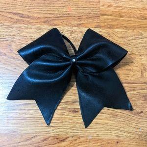 Black Pleather Cheer Bow